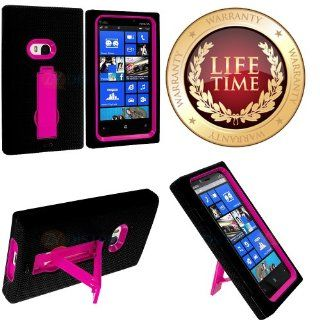 myLife (TM) Black + Hot Pink Armorsuit Defender (Built In Kickstand) Tough Case for the Nokia Lumia 920, 920.2, 920T and 920 4G Camera Smartphone (Durable External Silicone Bumper Grip Gel + Hard Internal 2 Piece Snap Guard + Lifetime Warranty + Sealed Ins