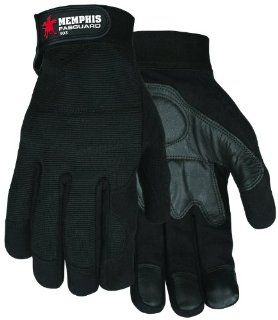 MCR Safety 903L Fasguard Synthetic Leather Palm Multi Task Gloves with Spandex Back and Adjustable Wrist Closure, Black, Large, 1 Pair   Work Gloves
