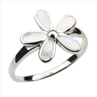 Mother of Pearl & 925 Sterling Silver Flower Ring Jewelry
