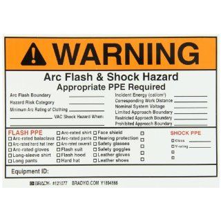 "Brady 99458 7"" Width x 5"" Height, B 933 Vinyl, Black and Orange on White Write On Arc Flash and Shock Label, Header ""Warning"" (Pack of 5) Industrial Warning Signs"
