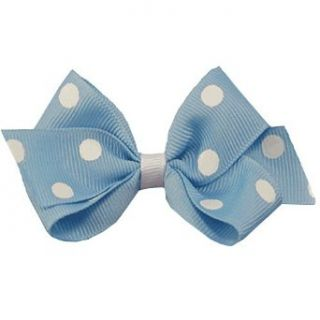 Little Girl Light Blue White Dotted Hair Bow Clippie Reflectionz Clothing