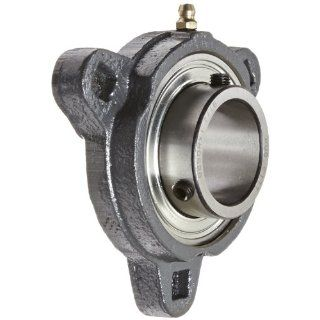 "Hub City FB150URX1 7/16 Flange Block Mounted Bearing, 3 Bolt, Light Duty, Relube, Setscrew Locking Collar, Narrow Inner Race, Ductile Housing, 1 7/16"" Bore, 1.73"" Length Through Bore, 3.937"" Mounting Hole Spacing"