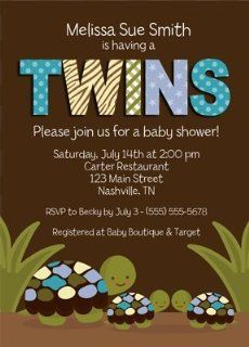 Turtle Twin Boys Baby Shower Invitations Health & Personal Care