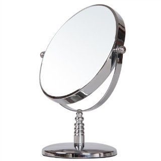 ADECO MR0092 6 inch Round Double Sided Table Top Cosmetic Makeup Mirror   3X Magnification, Chrome Finish, Great Gift  Makeup Tool Sets And Kits  Beauty