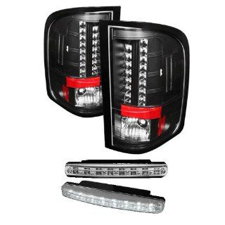 Carpart4u Chevy Silverado 1500/2500/3500 ( With Two Reverse Socket 921 Bulb ) LED Black Tail Lights & LED Day Time Running Light Package Automotive