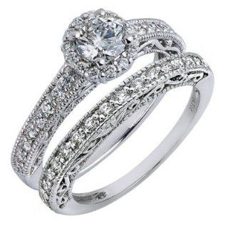 Bridal Set Natural Round Diamond Engagement Ring Wedding Band Vintage Style 14k White Gold (1.28 Cttw, VS 2 Clarity, F Color) Jewelry