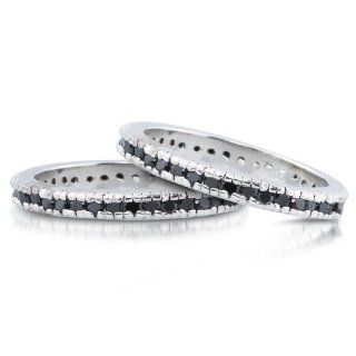 Studio 925 Lucinda Black Diamond CZ Sterling Silver Eternity Ring, 6 Willow Company Jewelry