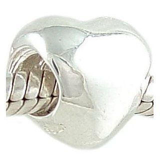 Puffy Heart Shaped 925 Sterling Silver Bead fits European Charm Bracelet Jewelry