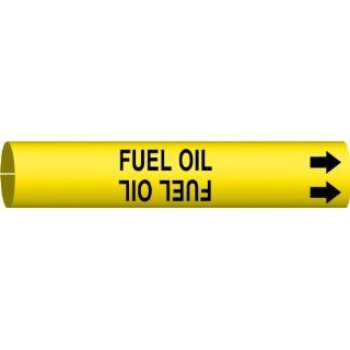 "Brady 4063 G Brady Strap On Pipe Marker, B 915, Black On Yellow Printed Plastic Sheet, Legend ""Fuel Oil"" Industrial Pipe Markers"