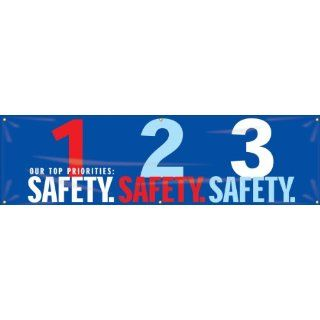 "Accuform Signs MBR951 Reinforced Vinyl Motivational Safety Banner ""OUR TOP PRIORITIES 1 SAFETY 2 SAFETY 3 SAFETY"" with Metal Grommets, 28"" Width x 8' Length, Red/Aqua on Blue Industrial Warning Signs"