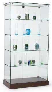 Tempered Glass Frameless Tower Display Stands At 71 Inches Tall, Hinged Locking Doors And Hidden Wheels, 35 1/4 x 71 x 17 3/8 Inch   Free Standing Cabinets