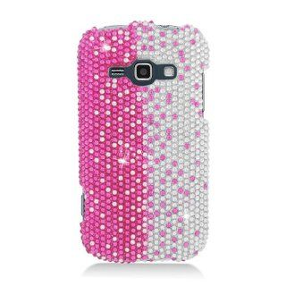SAMSUNG GALAXY RING PREVAIL 2 M840 FULL DIAMOND PINK SILVER VERTICAL BLING SNAP ON CELL PHONE CASE from [TRIPLE8ACCESSORIES] Cell Phones & Accessories