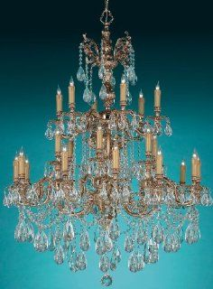 Crystorama 2724 OB CL MWP, Oxford Crystal 3 Tier Chandelier Lighting, 24 Light, 960 Watts, Brass