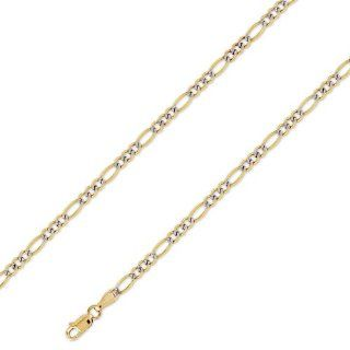 14K Solid Yellow White 2 Two Tone Gold Figaro Chain Necklace 3.2mm (1/8 in.)   20 in. Jewelry