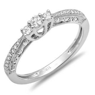 0.33 Carat (ctw) Dainty 10k White Gold Round Diamond 3 Stone Ladies Promise Bridal Engagement Ring 1/3 CT Jewelry