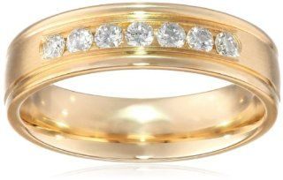Men's 14k Yellow Gold Ideal Cut Round Edge Comfort Fit 6mm Channel Set Band (0.42, cttw, SI 1, G Color) Jewelry