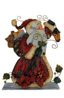 Tin Metal Gloss Santa Claus Figurine or Wall Plaque [16902]   Holiday Figurines