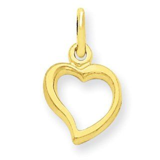 14k Solid Polished Flat backed Heart Charm, Best Quality Free Gift Box Satisfaction Guaranteed Jewelry
