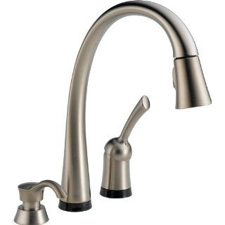 Delta 980T SSSD DST Pilar Single Handle Pull Down Kitchen Faucet with Touch2O Technology and Soap Dispenser, Stainless   Touch On Kitchen Sink Faucets