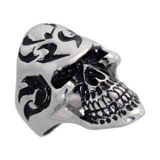 Surgical Steel Biker Skull Ring Tribal Tattoos 1 3/8 inch wide, sizes 9   15 Jewelry