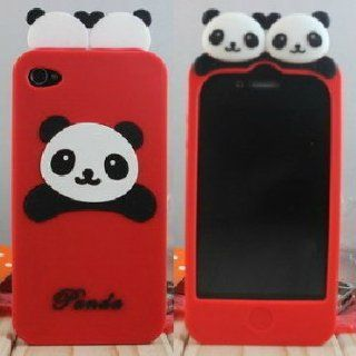 ECOMGEAR(TM)Cute PANDA Soft Silicon Back Case Cover skin for iPhone 4 4G Red Cell Phones & Accessories