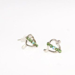 Evbea Earring for Woman Heart Shape with Green Glass Crystal Silver Plated Ear Cuffs Jewelry
