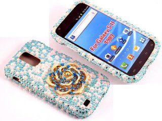 iSee Case 3D Pearl Bling Rhinestone Crystal Full Cover Case for Samsung Galaxy S2 S 2 II T Mobile HERCULES SGH T989 (Blue Flower) Cell Phones & Accessories