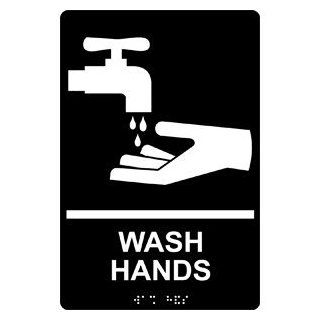 ADA Wash Hands With Symbol Braille Sign RRE 992 WHTonBLK Hand Washing  Business And Store Signs
