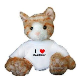 Plush Stuffed Brown Cat Toy with I Love Magnilde T Shirt (first name/surname/nickname) Toys & Games