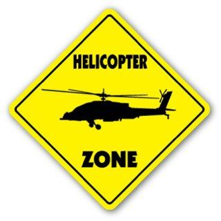 HELICOPTER ZONE Sign xing heli helo rotor blade hewey bell jet ranger sikorsky  Street Signs  Patio, Lawn & Garden