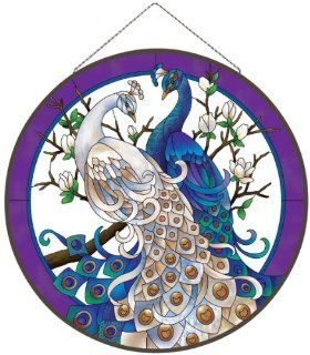 "21.5"" White and Blue Peacocks Hand Painted Glass Wall or Window Art Panel   Stained Glass Window Panels"