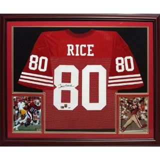 Jerry Rice Autographed San Francisco 49ers (Red #80) Deluxe Framed Jersey Sports Collectibles