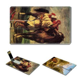 Eugene Delacroix Credit Card Size USB Flash Drive USB 2.0 Memory 4GB Arab Horses Fighting In A Stable+Apollo Slays Python Computers & Accessories
