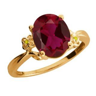 3.38 Ct Oval Red Created Ruby and Diamond 18K Yellow Gold Ring Rings For Women Jewelry