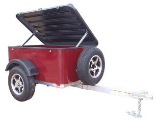 Hybrid Trailer Co. Vacationer with Spare Tire   Enclosed Cargo Trailer, 990 lbs. Gross, 30 cu/ft.   Black Cherry Automotive