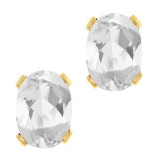 1.40 Ct Oval Shape White Mystic Quartz Yellow Gold Plated Brass Stud Earrings Jewelry