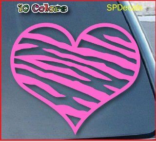 "Zebra Print Heart Car Window Vinyl Decal Sticker 4"" Wide (Color Pink)"