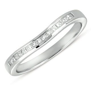 Curved 14k White Gold Princess Band, Best Quality Free Gift Box Satisfaction Guaranteed Rings Jewelry