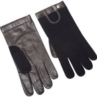 Kinross Cashmere Driving Glove w/Leather (Black   Size M/L) Clothing