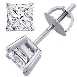 0.93 Carat (ctw) 14K White Gold Princess Diamond Ladies Stud Earrings Jewelry
