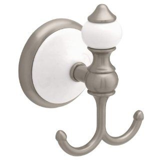 Franklin Brass 127063 Grayson Double Robe Hook, Satin Nickel And White