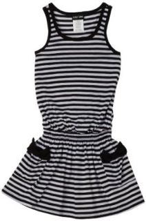 Paperdoll Girls 7 16 Sleeveless Stripe Dress With Pockets, Black/White, Small Clothing