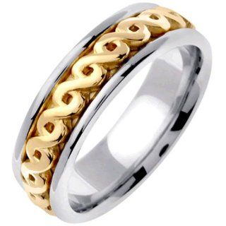 18K Two Tone Gold Women's Celtic Infinity Knot Wedding Band (7mm) Jewelry