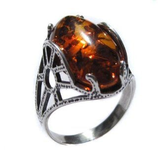 Honey Amber and Sterling Silver Oval Ring Sizes 5, 6, 7, 8, 9, 10, 11, 12 Braslet Jewelry