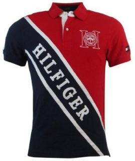 Tommy Hilfiger Mens Custom Fit Logo Polo Shirt   S   Red/Navy at  Men�s Clothing store