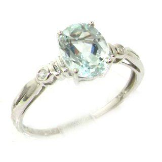 Luxury Solid White 9K Gold Natural AAA Aquamarine & Diamond Ladies Ring   Ideal Gift for Mum, Daughter, Wife, Sister, Mothers Day, Birthday, Christmas, Valentines Engagement Rings Jewelry