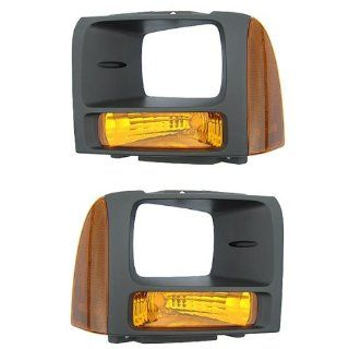 2005 2006 2007 Ford F250 & F350 Pickup Truck Super Duty Headlamp Bezel with Park Corner Light Turn Signal Marker Lamp (Argent for Models with Sealed Beam Headlights) Pair Set Right Passenger And Left Driver Side (05 06 07) Automotive