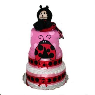 3 Tier   100 Diaper Baby Shower Diaper Cake Centerpiece (Ladybug Love)  Baby Diapering Gift Sets  Baby