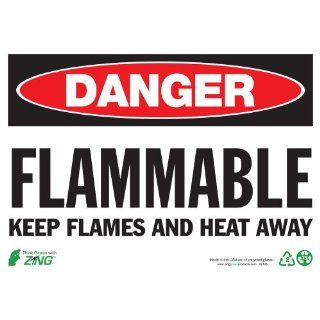 "Zing Eco Safety Sign, Header ""DANGER"", Legend ""FLAMMABLE KEEP FLAMES, HEAT AWAY"", 14"" Width x 10"" length, Recycled Plastic, Black/Red/White (Pack of 1) Industrial Warning Signs"