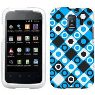 Huawei AT&T Fusion 2 Black, Blue, White Dots in Squares Phone Case Cover Cell Phones & Accessories